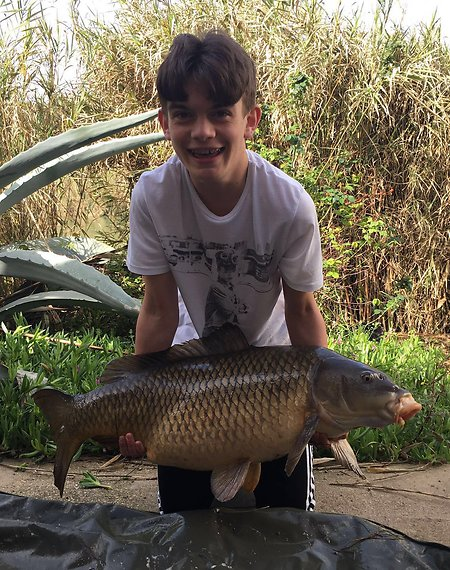 Carp fishing the River Ebro. alfie38lbcarp